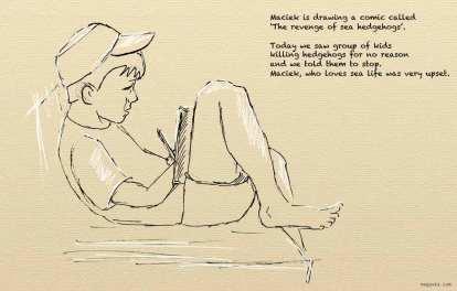 Croatia, Viniscie - Maciek drawing a comic